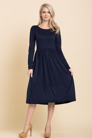 Solid Long Sleeve Midi Dress in Navy