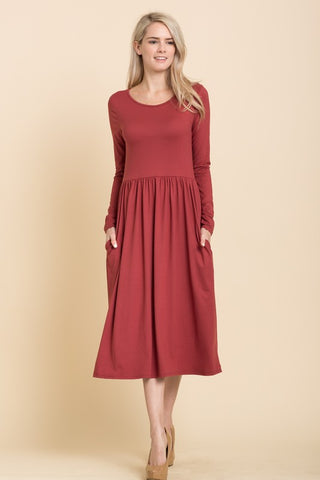 Solid Long Sleeve Midi Dress in Rust