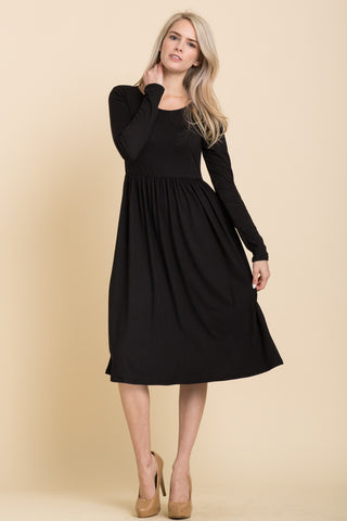 Solid Long Sleeve Midi Dress in Black