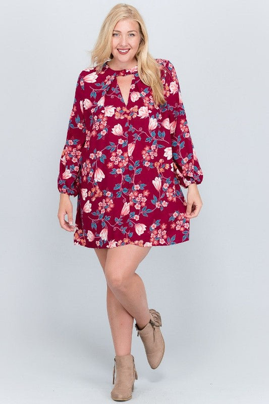 Floral Choker Tunic Dress
