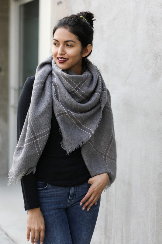 Plaid Frayed Trim Blanket Scarf
