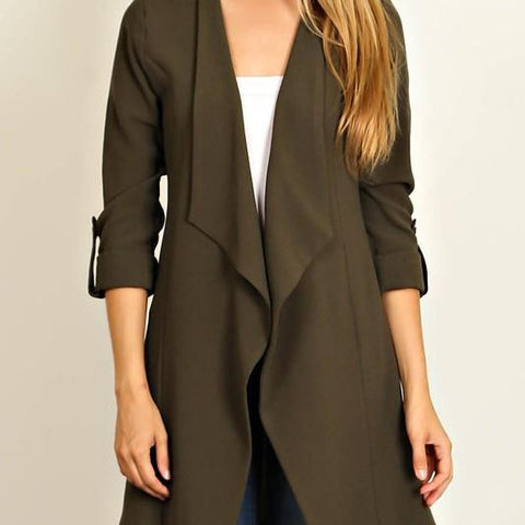 Waterfall Collar Open Blazer