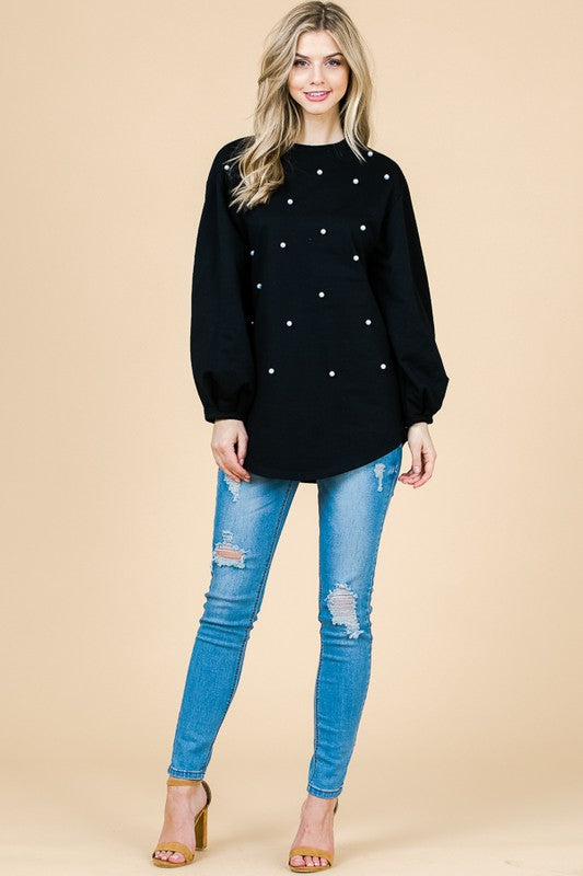 French Terry Sweater with Pearl Detail