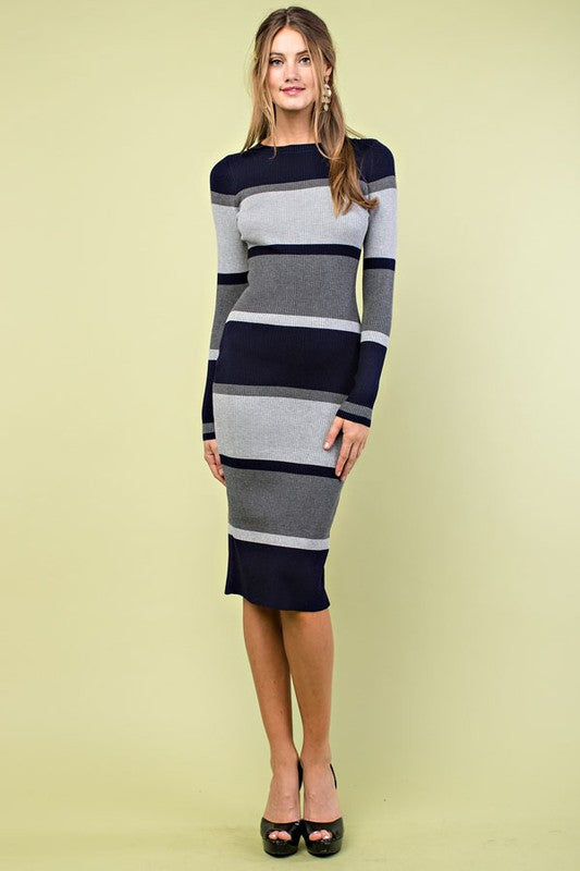 Multi Stripe Long Sleeve Rib Dress