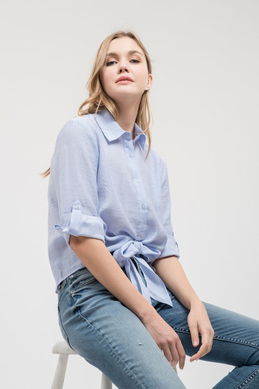 Cropped Tie Front Blouse