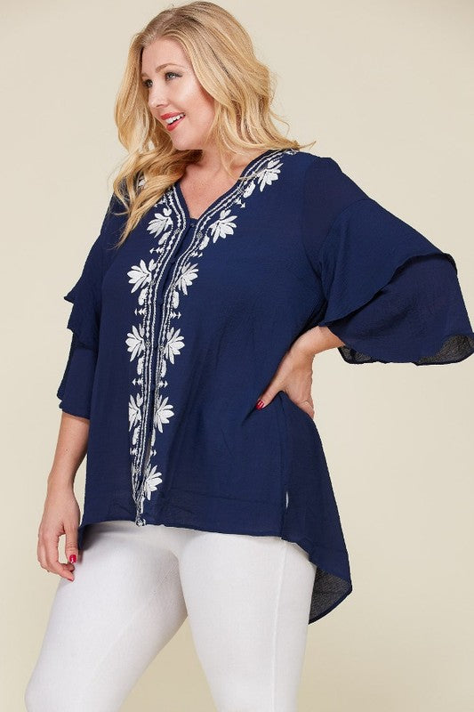 Ruffle Embroidered Blouse