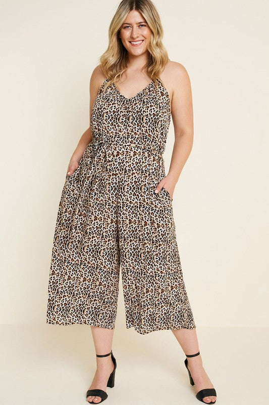 Cropped Leopard Jumpsuit