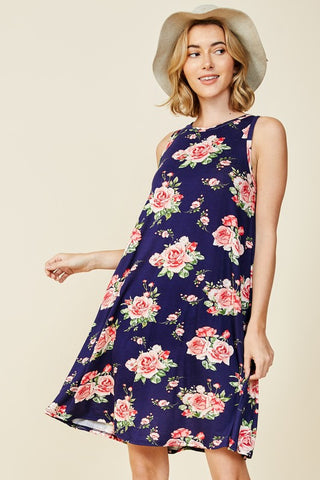 Sleeveless Floral Swing Dress