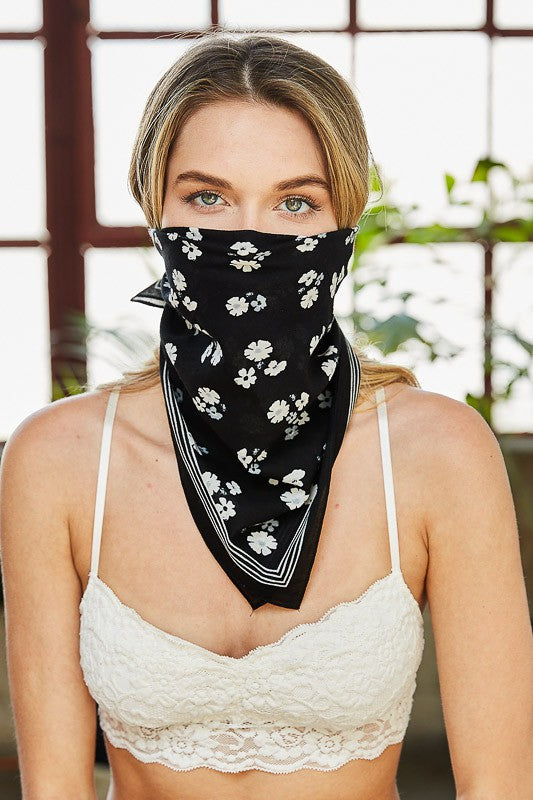 Dainty Floral Bandana / Face Covering