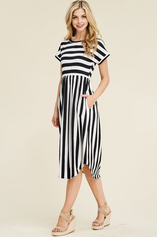 Striped Midi Dress with Round Hem