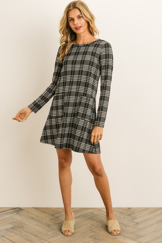 Black & White Check Dress With Pockets