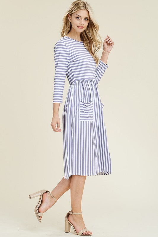 Lilac Stripe Midi Dress