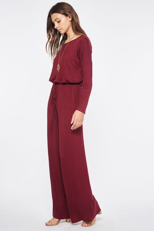 Solid Jumpsuit with Drawstring Waist and Pockets