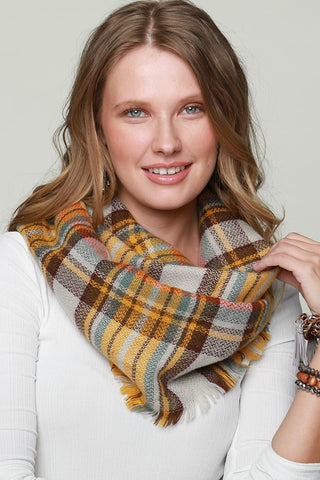 Classic Woven Plaid Infinity Scarf with Fringe