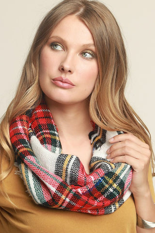 Woven Plaid Infinity Scarf in White