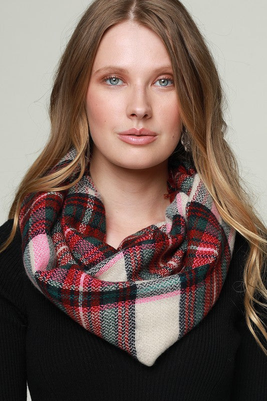 Woven Plaid Infinity Scarf In Fuchsia