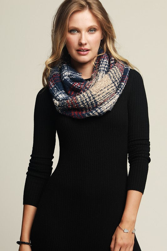 Boucle Woven Plaid Infinity Scarf with Fringe