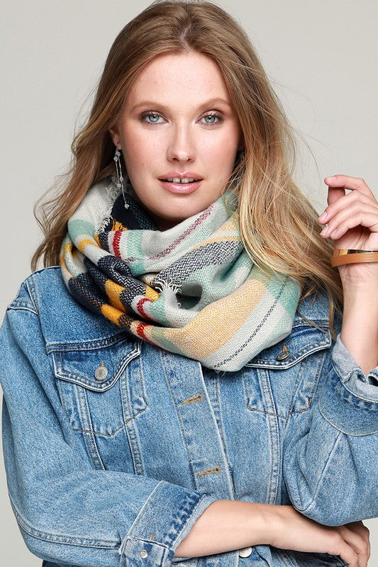 Woven Plaid Infinity Scarf with Fringe