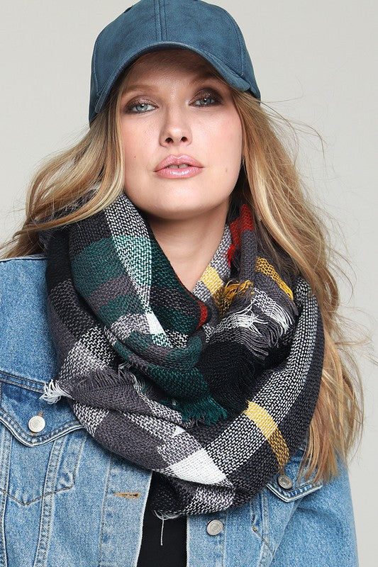 Casual Woven Plaid Infinity Scarf with Fringe