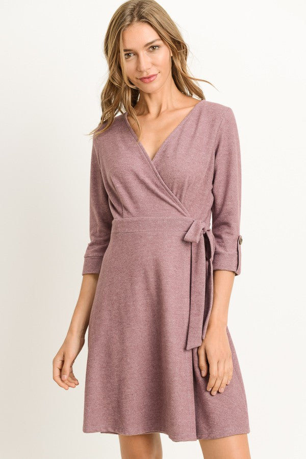 Wrap Front Dress with Side Tie