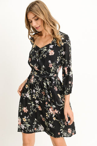 3/4 Sleeve Floral Rayon Dress