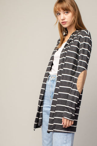 Charcoal Striped Open Cardigan w/ Elbow Patches