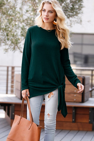 Hunter Green Top with Side Tie Detail
