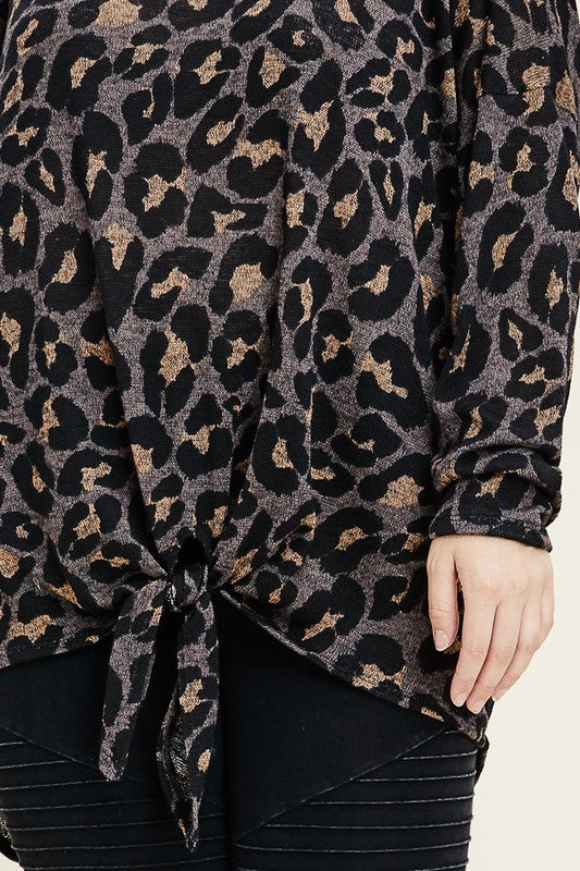 Animal Print Tie Front Top (Plus Size)