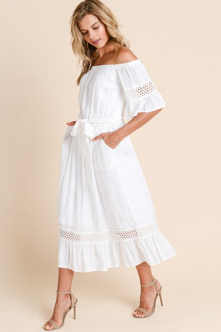 Off Shoulder Ruffle Midi Dress