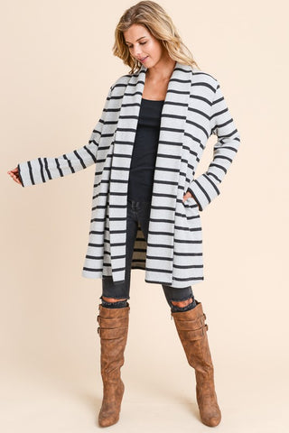 Long Sleeve Brush Stripe Boxy Cardigan
