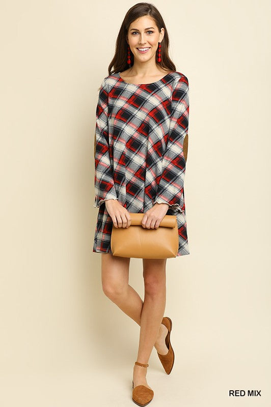 Plaid Shift Dress With Elbow Patches