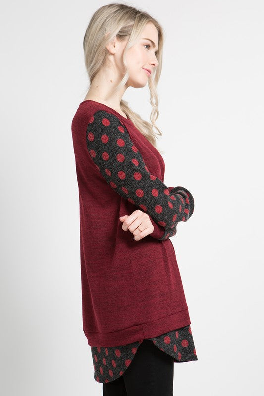 Polka Dot Layered Hem Top