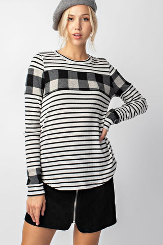 Black & White Striped Top with Plaid