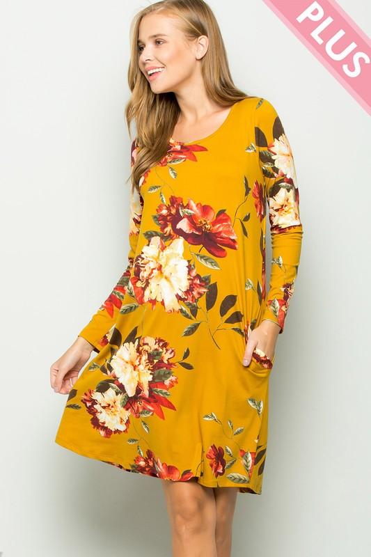 Floral Pocket Dress (Plus Size)