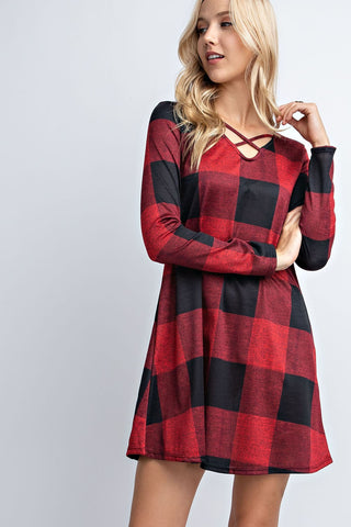 Long Sleeve Buffalo Plaid Dress