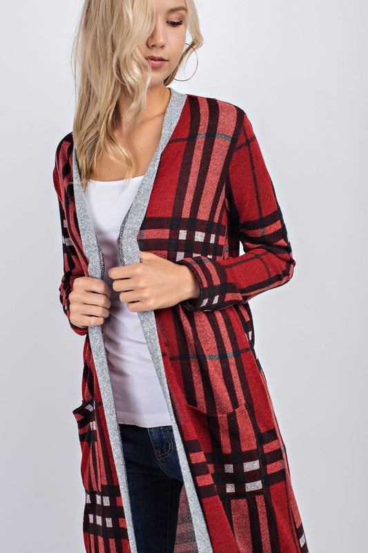 Plaid Open Cardigan with Pockets