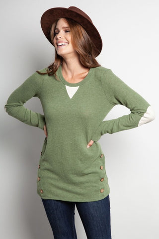 Brushed Fleece Top with Button Detail and Elbow Patches