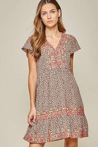 Leopard Print Embroidery Dress