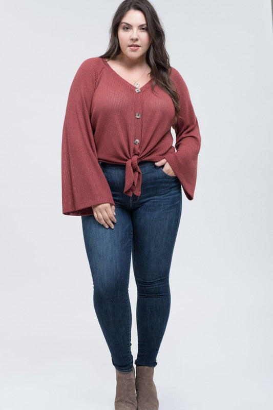 Button Front Top with Bell Sleeves