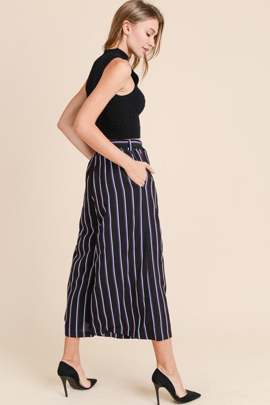 Cropped Wide Leg Striped Pant