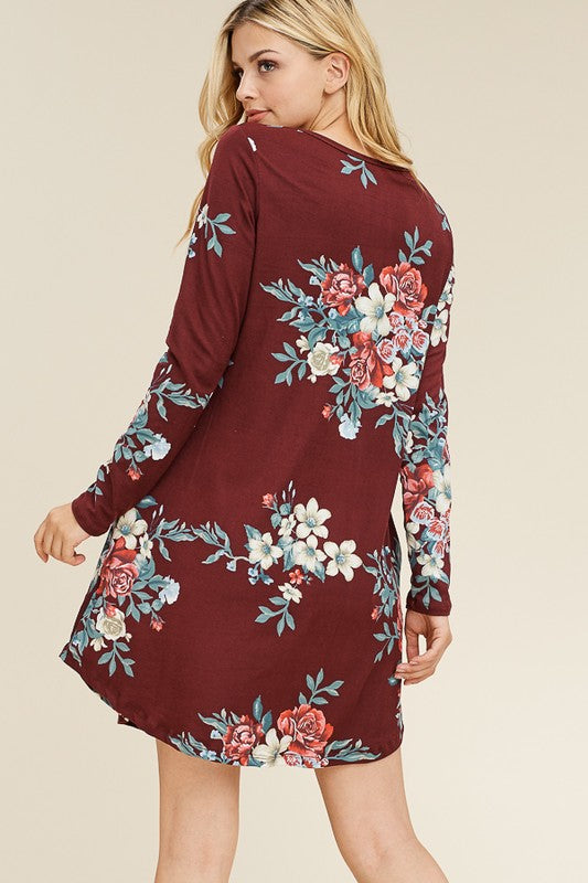 Floral Long Sleeve Dress with Pockets