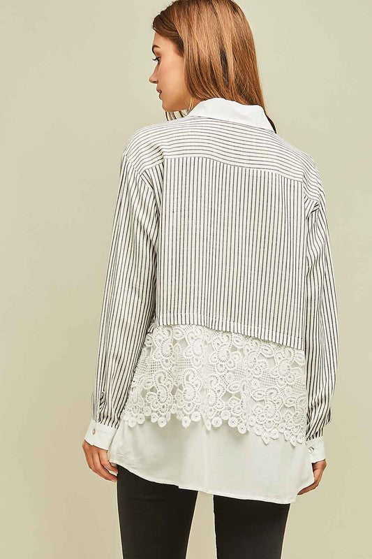 Striped Blouse with Lace Bottom