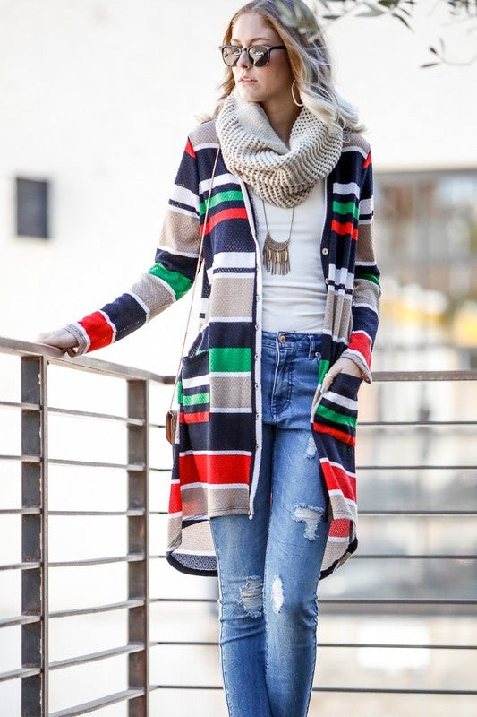 Colour Block Knit Cardigan with Pockets