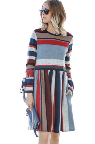 Striped Dress with Tie Sleeves