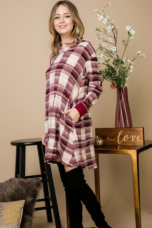 Burgundy Plaid Hoodie Dress
