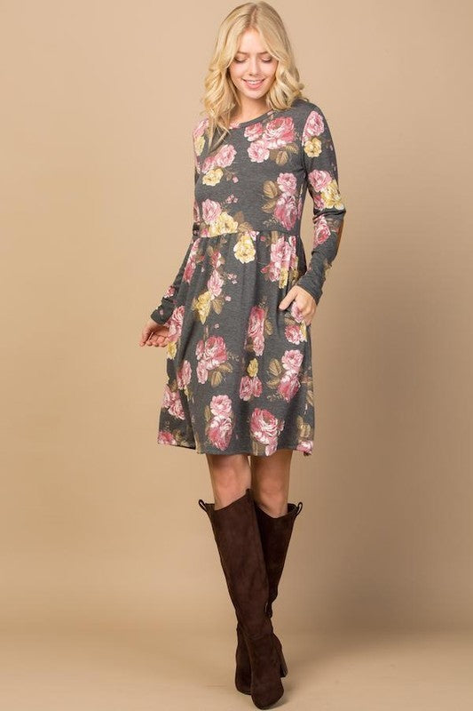 Long Sleeve Floral Dress with Elbow Patches and Pockets