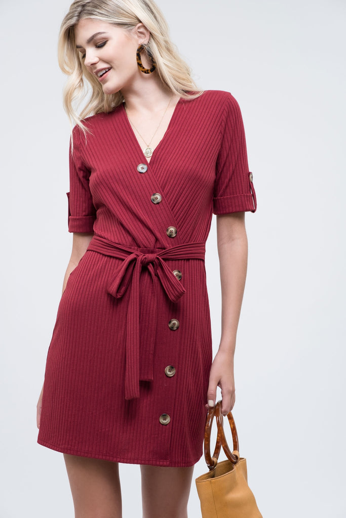 Knit Dress with Buttons