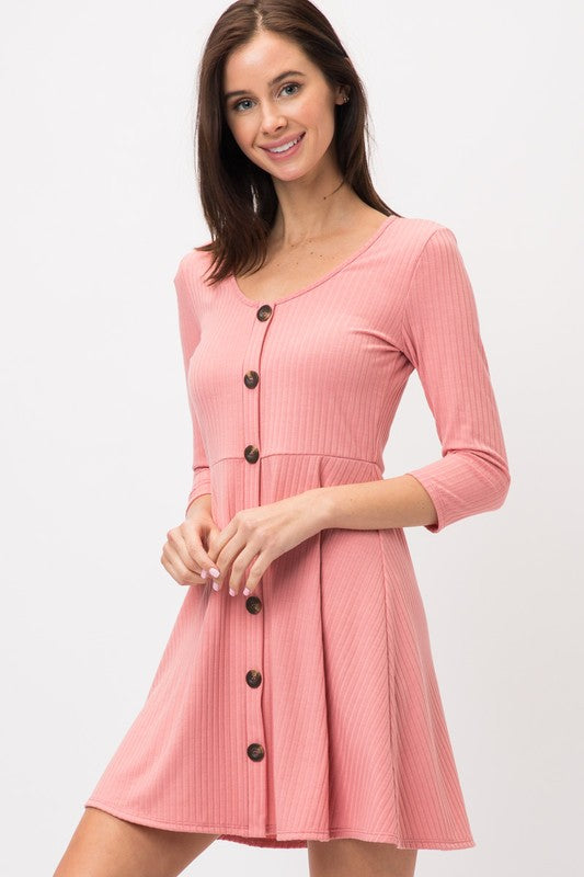 Button Front Skater Dress