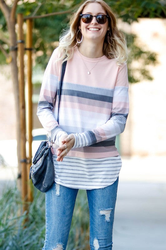 Gradient Stripe Long Sleeve Top