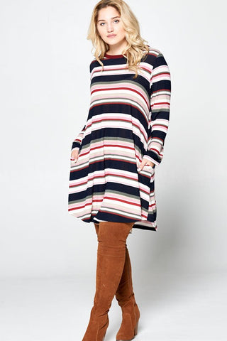 Striped Swing Dress with Pockets